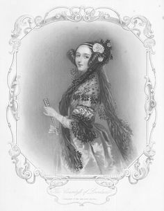 "The well-known engraving, looks enough like the photo I'm ready to call it a likeness. Lovelace herself didn't think much of the get-up she's in here-- ""stiff and the exaggeration of fashion"""