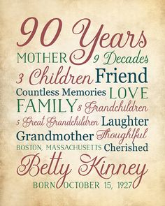 90th Birthday Gift for 90 Year Old Born 1927 by WanderingFables