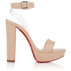 Christian Louboutin Women's Cherry Leather & PVC Platform Sandals (15.400 ARS) ❤ liked on Polyvore featuring shoes, sandals, beige, high heel shoes, leather high heel sandals, ankle strap high heel sandals, ankle strap sandals and beige high heel sandals