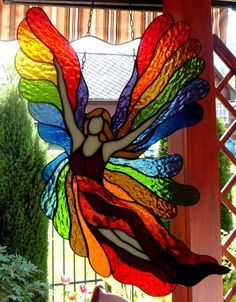 Witraże Tiffany Galeria Anna Danowska with rainbow colors Stained Glass Angel, Stained Glass Suncatchers, Stained Glass Designs, Stained Glass Projects, Stained Glass Patterns, Stained Glass Windows, Glass Painting Designs, Mosaic Art, Mosaic Glass