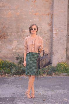 Emily wearing Rützou blouse and skirt. 074949a50