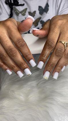 Classy Acrylic Nails, Acrylic Nails Coffin Pink, French Tip Acrylic Nails, Short Square Acrylic Nails, Short Square Nails, Acrylic Nail Designs, Sapphire Nails, Tapered Square Nails, Work Nails