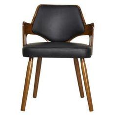 KIRUNA Chaise de salle à manger en bois bambou - Revêtement simili noir - Vintage - L50 x P51 cm