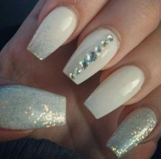 White, silver glitter, bling coffin nails