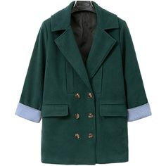 Choies Green Lapel Double Breasted Woolen Coat (2,305 MKD) ❤ liked on Polyvore featuring outerwear, coats, green, double breasted coat, double-breasted wool coat, double breasted woolen coat, lapel coat and green wool coat