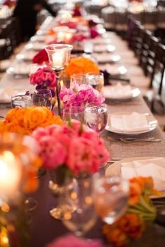 Yellow, Pink and Red centerpiece