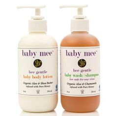 Baby Lotion and Body Wash Set - Organic Aloe, Organic Chamomile, Shea Butter & Bee Honey. Best Daily Moisturizer & Gentle Natural Shampoo With Low Sudsing No Tear Formula - Great Gift For New Moms