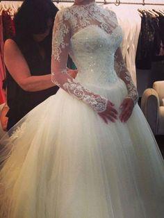 Duchesse Hochgeschnitten Bodenlänge Organza Brautmode mit Lange Ärmel