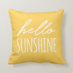 """Hello Sunshine Sunny Yellow Throw Pillow - - This yellow pillow with """"hello sunshine"""" handwriting style typography in white will add a bright and happy accent to your home. Yellow Room Decor, Cute Room Decor, Yellow Theme, Yellow Bedroom Decorations, Yellow Accents, Sunflower Room, Yellow Throw Pillows, Yellow Bedding, Small Pillows"""