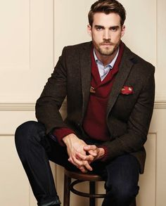 Matalan Autumn/Winter 2014. I like the deep cherry red sweater underneath the brown tweed blazer.