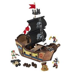 With KidKraft's Pirate Ship Play Set, young boys and girls can pretend they're sailing dangerous seas in search of buried treasure. Ahoy, matey! Features include:<br>- Cannon lights up and make sounds at the push of a button<br>- Treasure chest lights up at the push of a button<br>- 3 molded pirates<br>- Long rope ladder<br>- A jail cell for keeping prisoners from trying to escape<br>- Large enough that multiple children can play at once<br>- Made of composite wooden products<br>- Smart…
