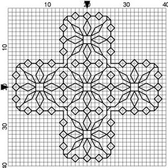 Byrd's Nest: Blackwork Smalls -- I added color with the Algerian Eye stitch in the middle of the flowers Blackwork Cross Stitch, Cross Stitch Charts, Cross Stitching, Cross Stitch Patterns, Kasuti Embroidery, Cross Stitch Embroidery, Embroidery Patterns, Blackwork Patterns, Embroidery Techniques