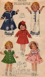 "1930's sewing doll clothes pattern for Shirely Temple doll.  Doll clothes pattern contains patterns for 5 styles including 2 dresses with bonnet, robe, coat with beret and pajamas.  Embroidery designs are included. Pattern is available in the 13"", 16"", and 18"" sizes.  See website for purchase information."
