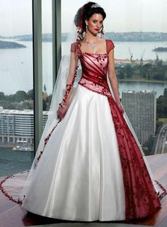 This is it!!!! Google Image Result for http://1.bp.blogspot.com/-2l1VdbX2rSM/TeOfwY5LUBI/AAAAAAAAAGM/xb1Am5yjOek/s1600/red-white-wedding-dress-7.jpg    http://www.goldwo.com/red-white-a-line-strapless-satin-tulle-cap-sleeve-wedding-dress-p8863.html