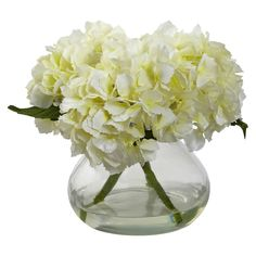 Rose Bouquet Discover Nearly Natural Blooming Hydrangea with Vase - The Home Depot Hydrangea Arrangements, Hydrangea Colors, Hydrangea Bouquet, Hydrangea Not Blooming, Ranunculus, Silk Hydrangea, Growing Hydrangea, Tulip Bouquet, Flower Bouquets