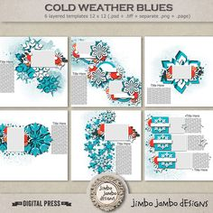 <p> Cold weather blues templates pack created by Jimbo Jambo Designs contains 6 digital templates saved as .psd, .tiff, .page and separate .png files</p>
