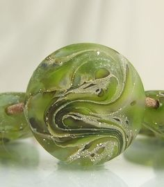 Glass Beads Lampwork Etched Silver Green by skyvalleybeads on Etsy