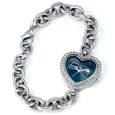 "BSS - Seattle Seahawks NFL Ladies Heart Series"" Watch"" . $76.90. BSS - Seattle Seahawks NFL Ladies Heart Series"" Watch"" The Heart Series features a bold full-colored face with an Offical Team logo. It features a heart shaped metal case with glistening rhinestones surrounding the genuine glass crystal. The bracelet is adjustable and made of stainless steel. The watch has the accuracy and reliabilty of a Japan Quartz movement; and is water resistant to 3 ATM (9..."
