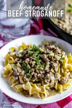 Easy Beef Stroganoff is packed with flavor and so delicious. It'll be the best homemade beef stroganoff recipe you ever make and the whole family will love it. #beef #beefstroganoff #easydinner #dinner #stroganoff #beefrecipe #easyrecipe #homemadebeefstroganoff #beefstroganofffromscratch #homemade #fromscratch