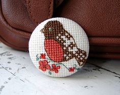 Embroidery brooch Follow the rabbit by PatHoodPoint on Etsy