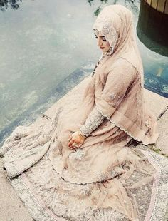 Muslim Girls Wedding Dresses with Sleeves and Hijab. #MuslimWedding, www.PerfectMuslimWedding.com