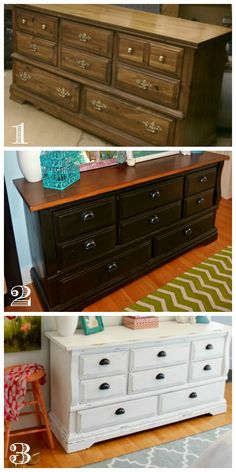 A third times the charm dresser makeover - from old dated dresser to a black and wood affair finishing off as a beautiful white chalk based painted dresser. Refurbished Furniture, Paint Furniture, Repurposed Furniture, Furniture Projects, Kitchen Furniture, Rustic Furniture, Furniture Making, Furniture Cleaning, Western Furniture