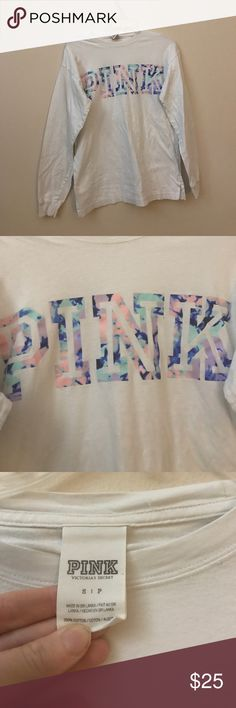 Victoria's Secret pink watercolor campus tee ls Sm Perfect condition. Price is firm. Will only trade for ISO list no exceptions if you don't have one of pink ISO items don't ask. PINK Victoria's Secret Tops Tees - Long Sleeve