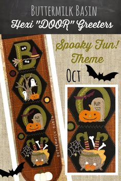 """NEW Buttermilk Basin """"October"""" """"Boo"""" Hexi Door Hanger Pattern with pumpkins ghosts ADORABLE by Heartofcharlie on Etsy Halloween Quilts, Halloween Sewing, Halloween Items, Halloween Crafts, Penny Rug Patterns, Wool Applique Patterns, Applique Ideas, Felt Crafts, Crafts To Make"""