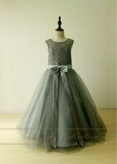 Find More Flower Girl Dresses Information about Grey Lace Tulle Flower Girl Dresses for Weddings With Sashes Hollow Out Girls Pageant Dress Kids Evening Gowns Dresses for Girls,High Quality dress ideas,China dress formal dress Suppliers, Cheap dresses for wide hips from Mickey's Dresses on Aliexpress.com