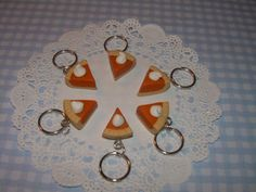 Pumpkin Pie Stitch Markers - Polymer Clay Charm Knitting Markers. $17.95, via Etsy.