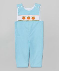 Loving this Turquoise Gingham Pumpkin Smocked Overalls - Infant & Toddler on #zulily! #zulilyfinds