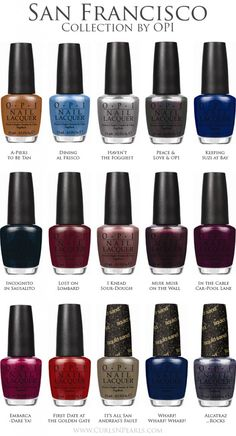 OPI South Beach Collection Color Chart | Nails | Pinterest | Best ...
