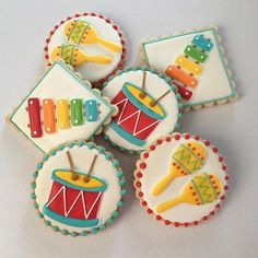 Baby Birthday Themes, 1st Birthday Cakes, Birthday Cookies, First Birthday Parties, Birthday Party Decorations, First Birthdays, Music Themed Cakes, Music Themed Parties, Music Cookies