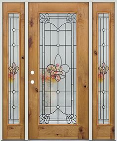 Full Lite Fleur-de-lis Knotty Alder Prehung Wood Door Unit with Sidelites