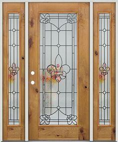 Full Lite Fleur-de-lis Knotty Alder Prehung Wood Door Unit with Sidelites