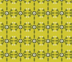 Striped Flowers - Green fabric by oliveandruby on Spoonflower - custom fabric