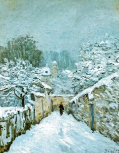 Snow at Louveciennes - Sisley, Alfred (French, 1839 - Fine Art Reproductions, Oil Painting Reproductions - Art for Sale at Galerie Dada French Impressionist Painters, Impressionist Landscape, Post Impressionism, Impressionist Paintings, Landscape Paintings, Painting Snow, Winter Painting, Winter Art, Claude Monet