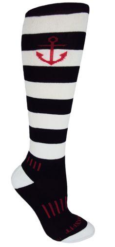 365a9ace8  10 MOXY Socks Anchor Scream Black and White Striped Knee-High Deadlift  Socks http