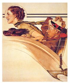Rumble seat by Norman Rockwell, 1933..... Peintures Norman Rockwell, Norman Rockwell Art, Norman Rockwell Paintings, Lucas Museum, The Saturdays, George Lucas, Illustrations, Illustration Artists, American Artists
