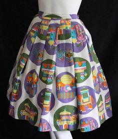 Vintage Original 50s 60s noveltly asisan temples elephants tigers print skirt 8 | eBay