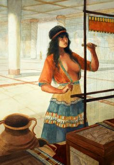 A reconstruction of a wealthy Mycenaean woman or priestess weaving in a palace, in reality this work was done by slaves