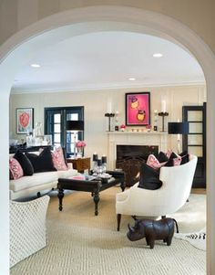 In my world there is always room for pink - this room displays just enough! by Joy Tribout Interior Design