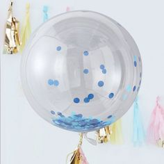 Ginger Ray Giant Blue Confetti Orb Balloons are a great way to go big and liven up a boring party venue. Fill these large latex balloons with helium and shake to wake the blue confetti!