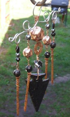 Rustic Rusty Nail Lucite Arrowhead Windchime or by brambleoak, $13.00