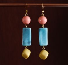 These colourful earrings have been made using vintage pink, turquoise and yellow beads and gold plated . Vintage Necklaces, Handmade Necklaces, Vintage Jewelry, Vintage Pink, Unique Vintage, Pink Turquoise, Gold Plated Earrings, Sustainable Fashion, Hoop Earrings