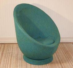 Vtg Mid Century Danish Modern Space Age Original Upholstered Egg Chair eames era   eBay
