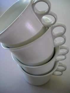 Vintage Bennington Potters Bennington Vermont White Matte Glaze Trigger Mugs Cups