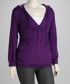 Take a look at this Purple Hooded Surplice Top - Plus on zulily today!