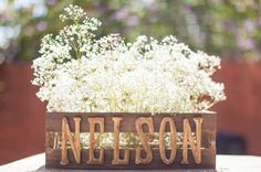 Could also use 1 crate for wedding programs at church...stuff with leftover baby's breath. Would be cute to put letter monogram on front with turquoise ribbon.