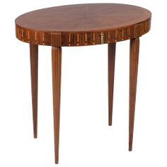 French Art Deco Oval Side Table in the Style of Ruhlman